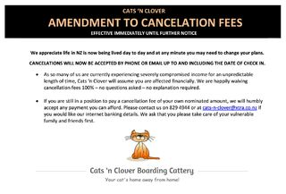 Amendment to Cancellation Fees
